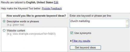 Screenshot of the Google Keyword Research Tool
