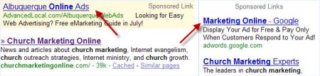 Screenshot of the sponsored links in the search engine results