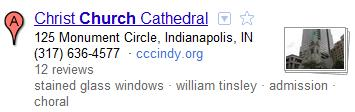 Google Maps Church Listing with Descriptive Terms
